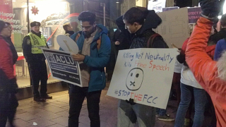 Boylston Street, Boston. December 7, 2017. Keep net neutrality demonstration. Image 4905