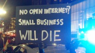 Boylston Street, Boston. December 7, 2017. Keep net neutrality demonstration. Image 4908