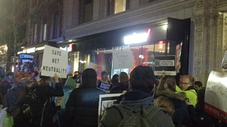 Boylston Street, Boston. December 7, 2017. Keep net neutrality demonstration. Image 4900