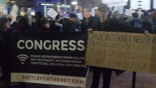 Boylston Street, Boston. December 7, 2017. Keep net neutrality demonstration. Image 4910