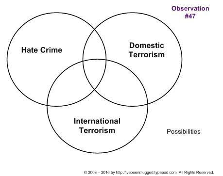 Venn diagram of hate crime, terrorism possibilities