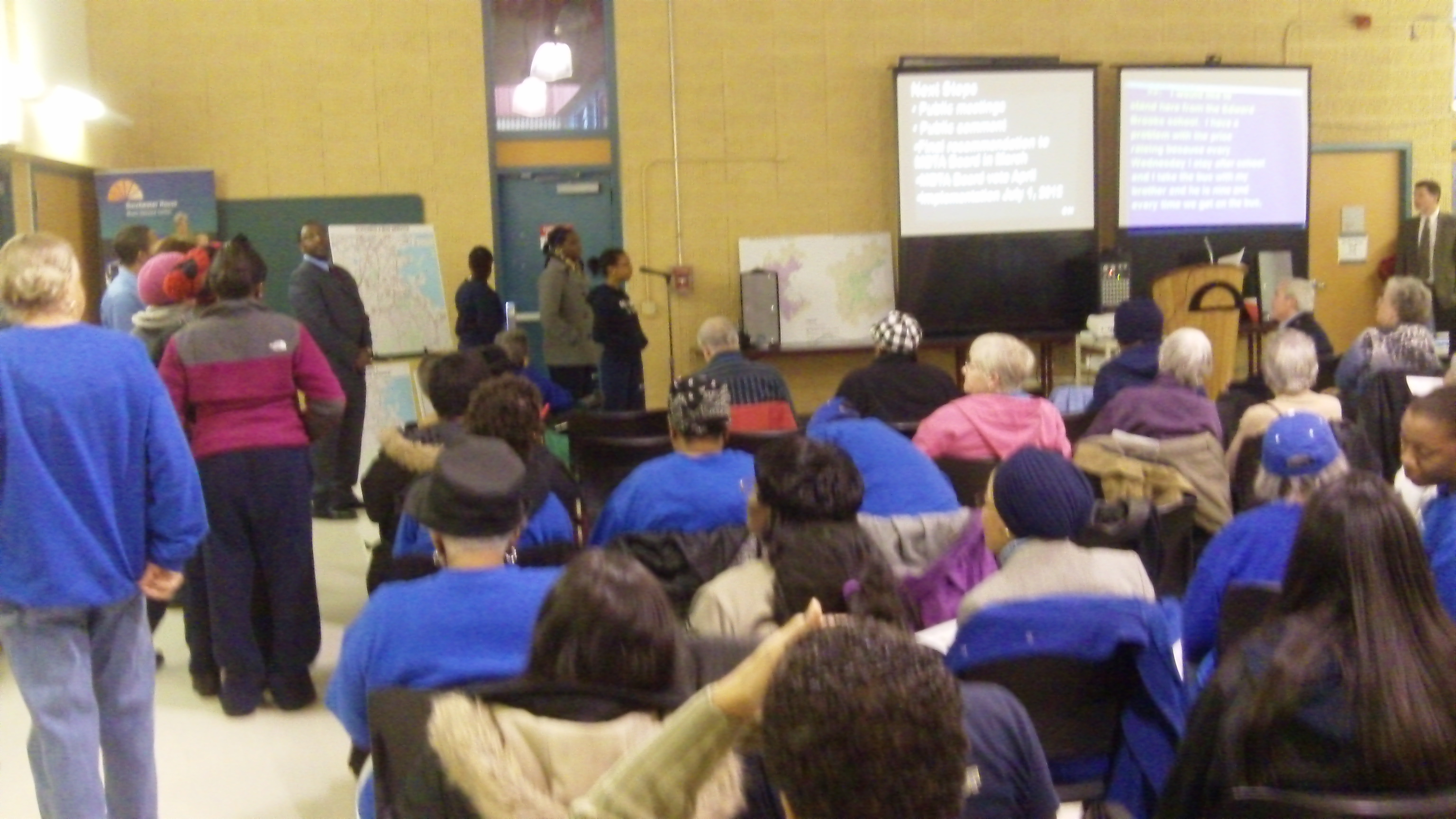 Residents speak February 2 at the MBTA community meeting at the Dorchester House about proposed changes