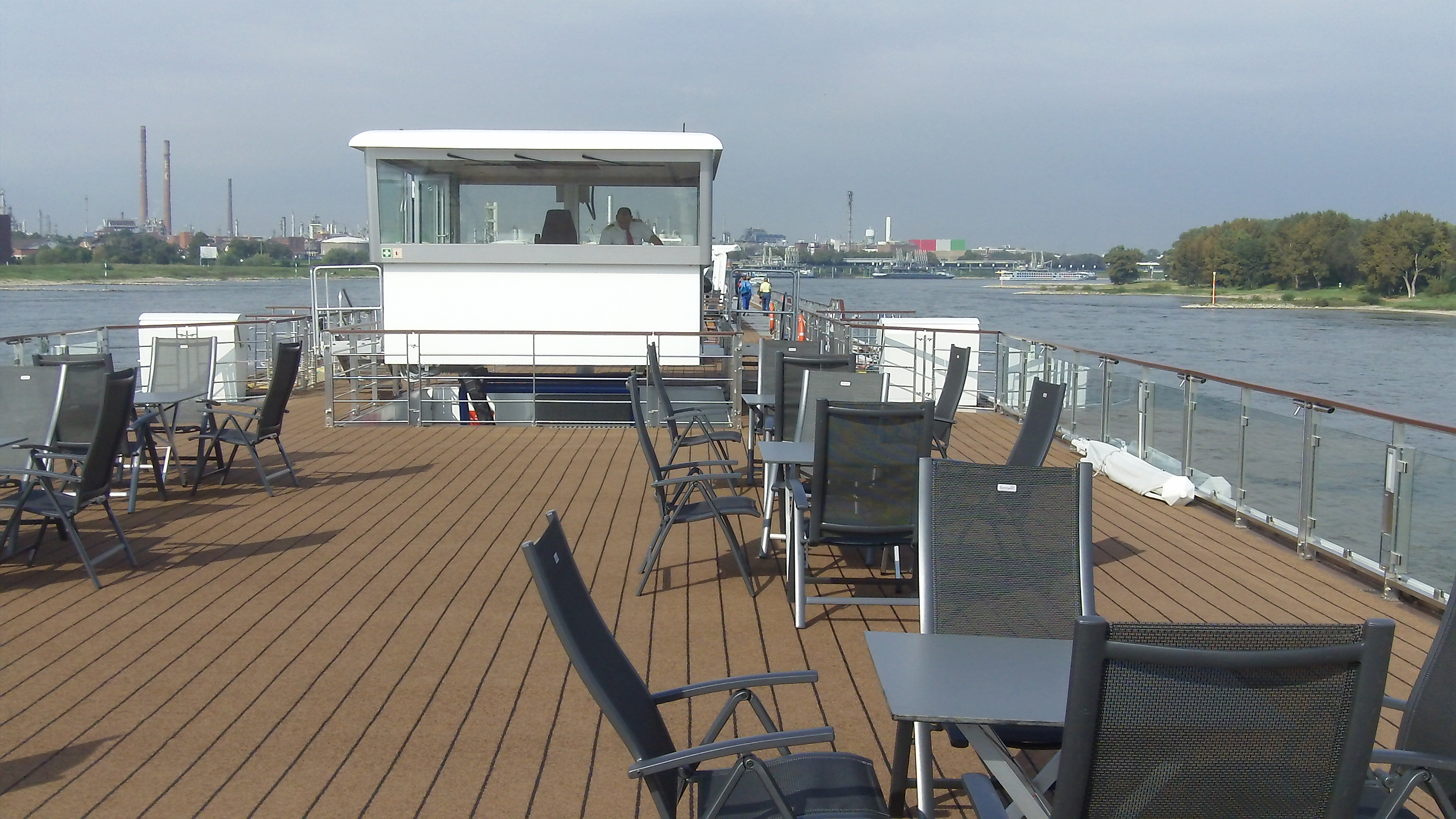 View of the top deck of Viking ship with the wheelhouse in the up position. Click to view larger version