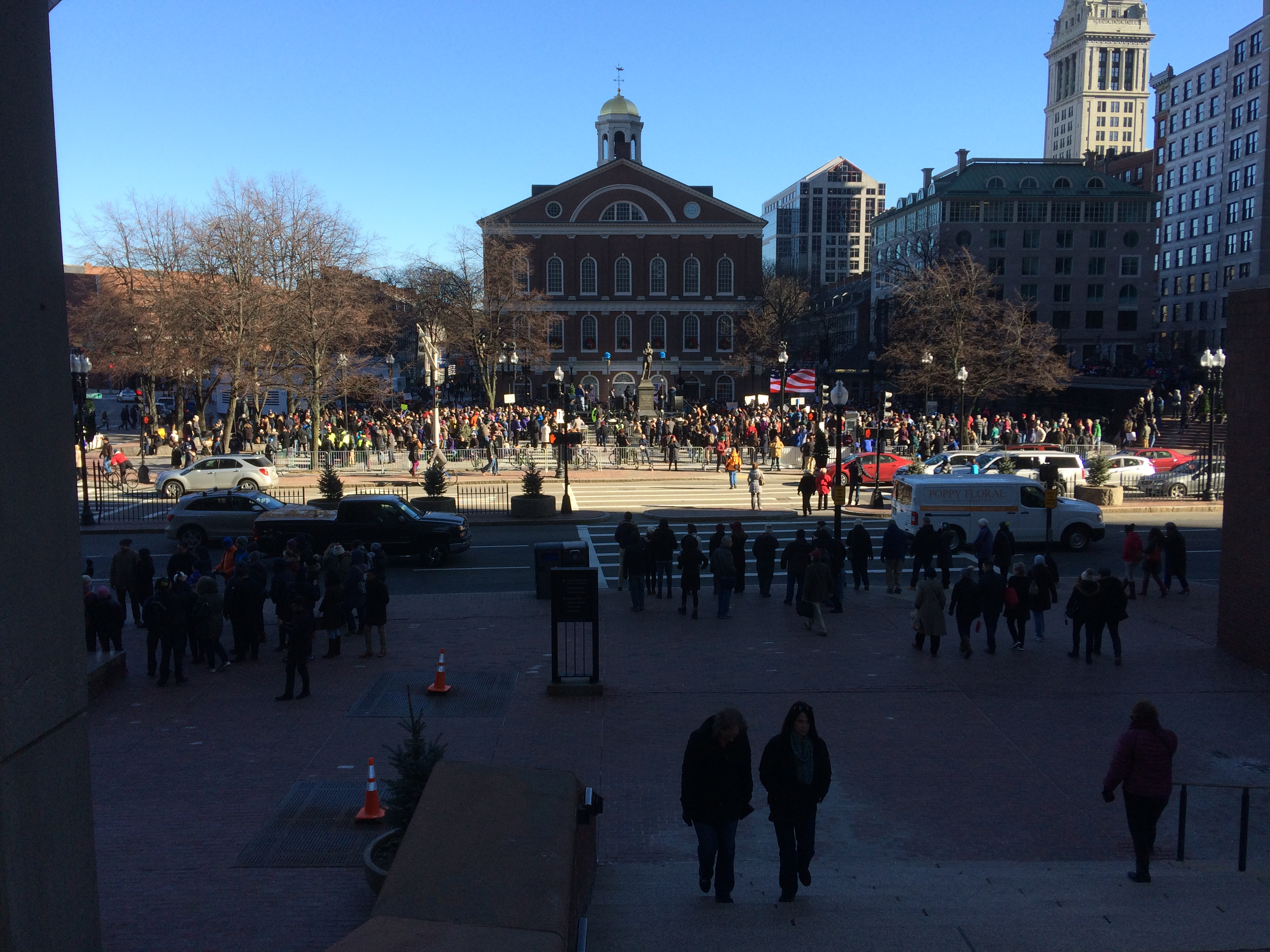 Crowd gathering an hour before Boston healthcare rally. January 15,, 2017. click to view larger version