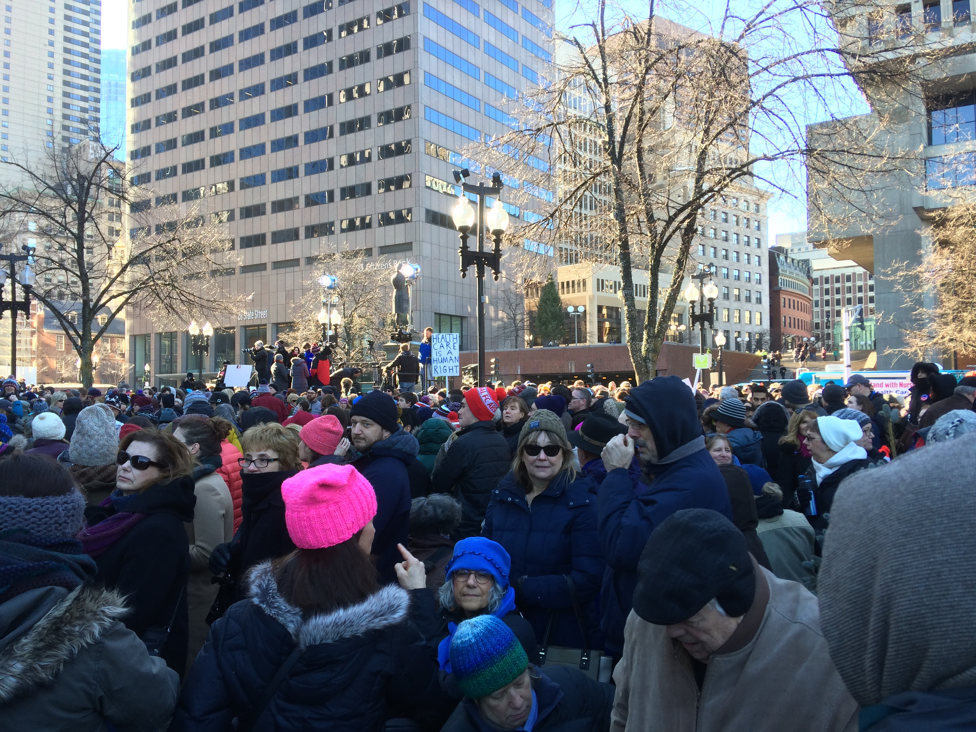 View of crowd at Boston healthcare rally January 15, 2017
