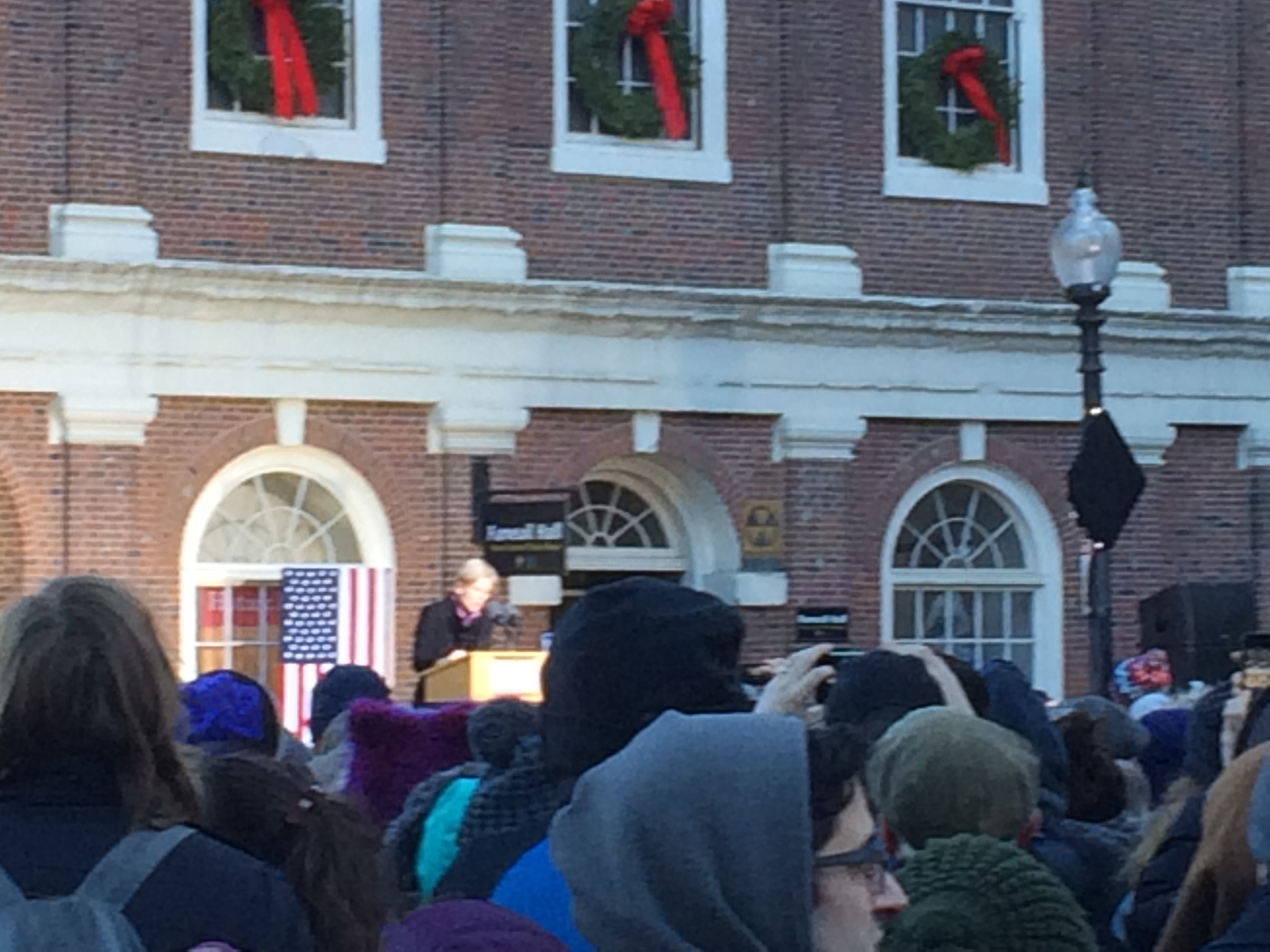 Senator Warren speaking at January 15, 2017 healthcare rally in Boston. Click to view larger version