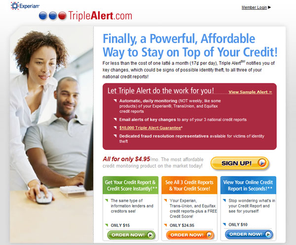 Experian Triple Alert site home page