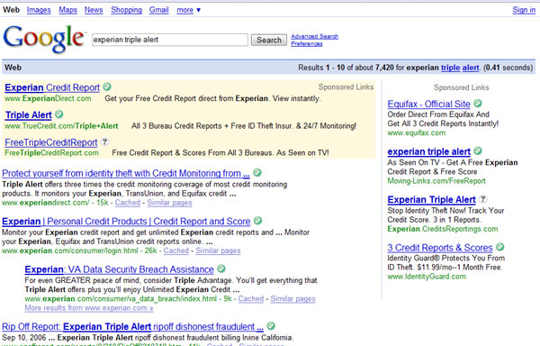 Google results page for my Experian Triple Alert search