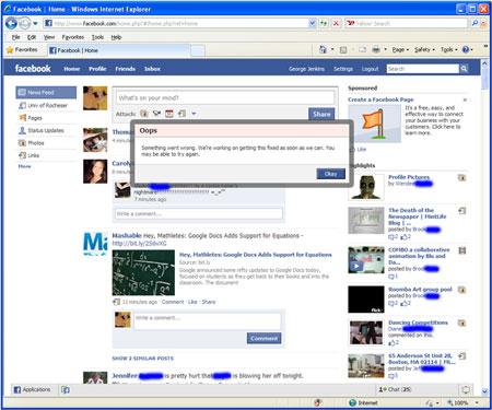 Facebook Oops Error Message
