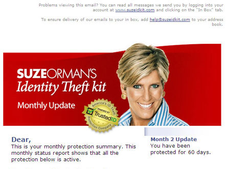 Monthly Update - Suze Orman Identity Theft Kit