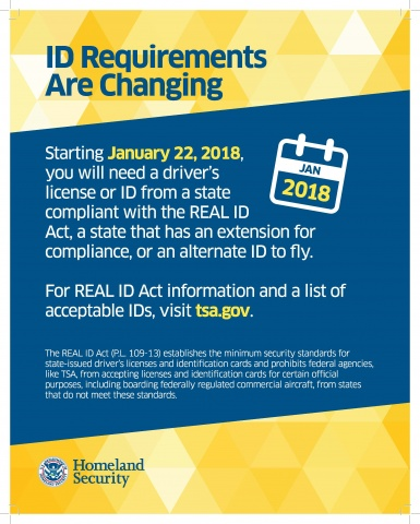 Generic TSA notice about changing ID requirements