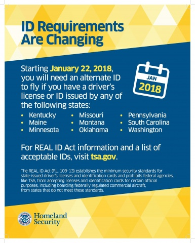 TSA notice for noncompliant states about changing ID requirements