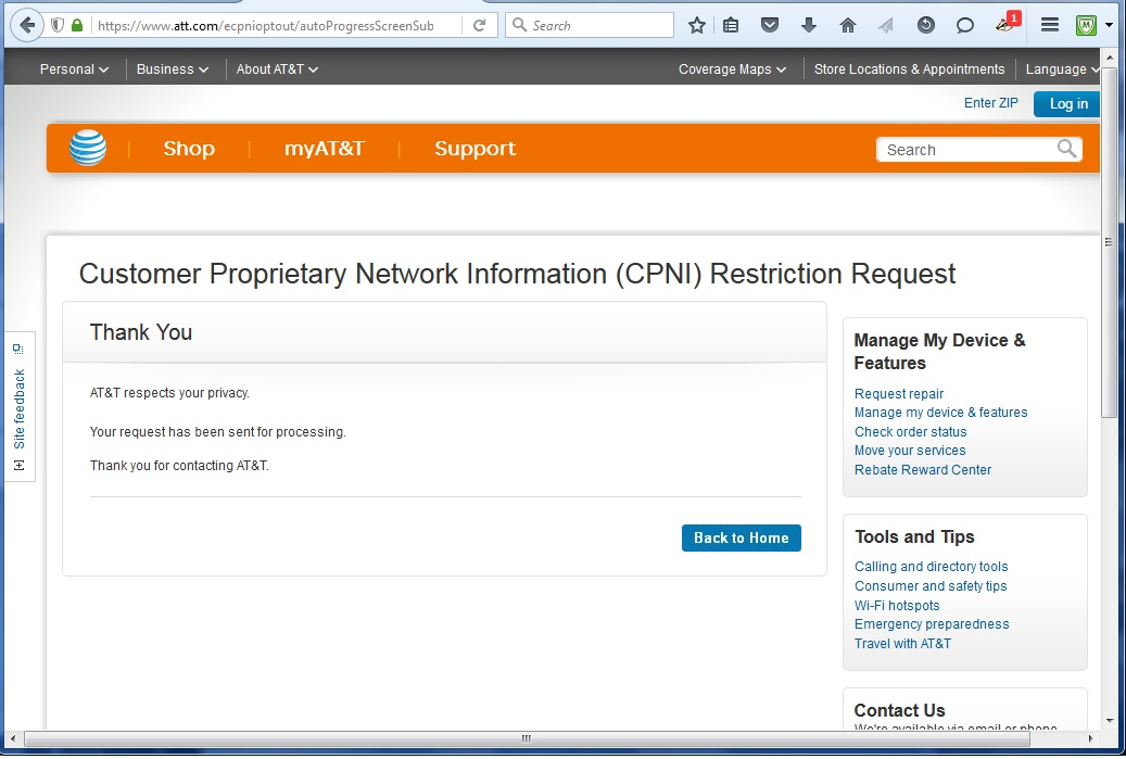 Image of AT&T CPNI Opt-out Confirmation page