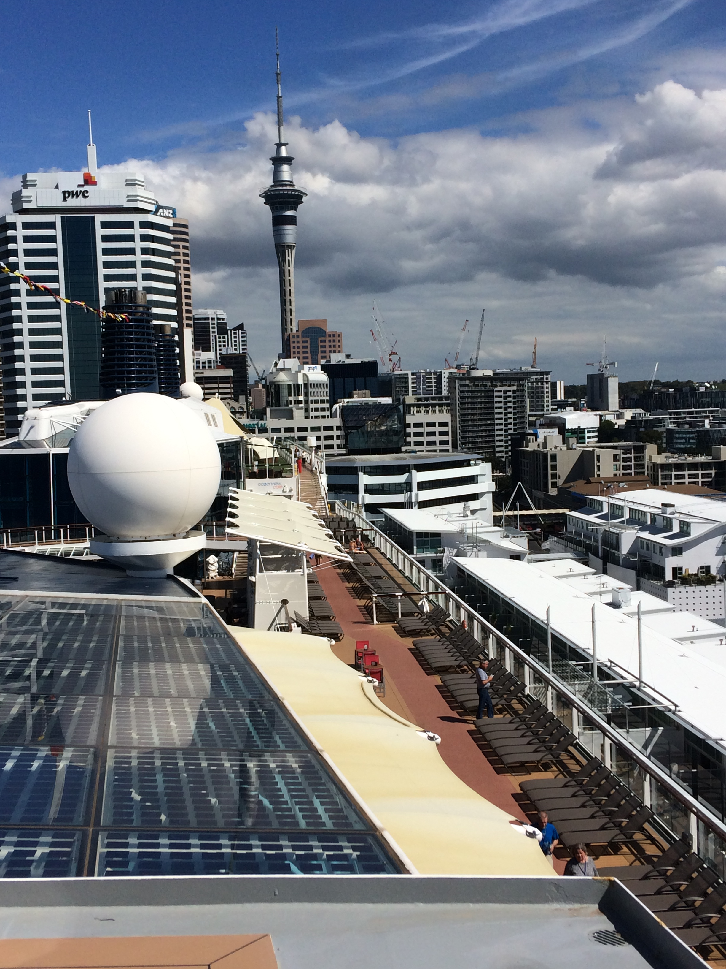 View of solar panels on the Celebrity Solstice cruise ship in March, 2019. Click to view larger version