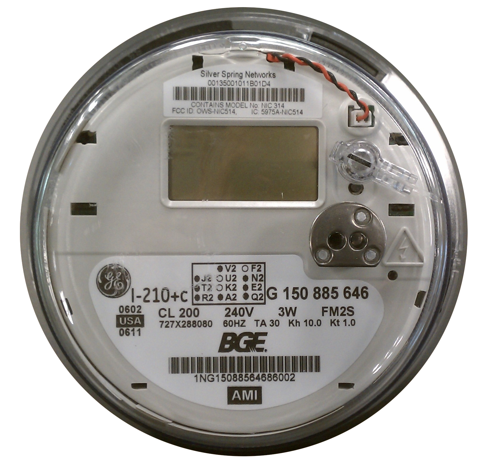 Smart meter by Baltimore Gas and Electric.