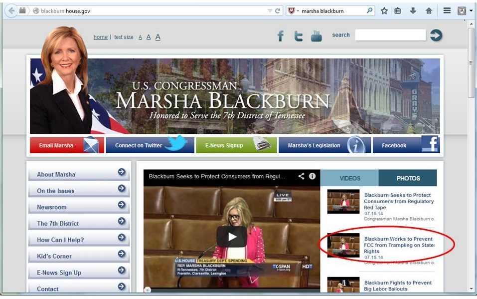 Screen image of Blackburn website on July 16, 2014