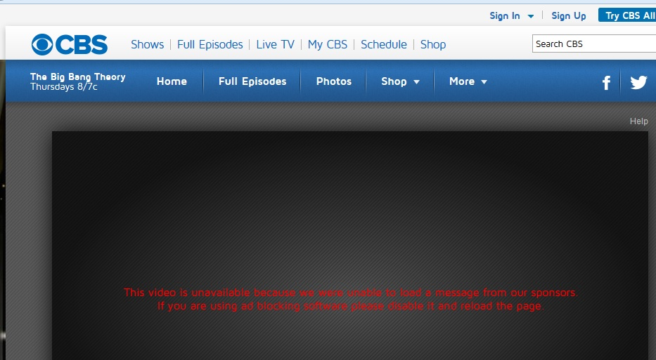Blocked ad blocker at CBS website. Click to view larger image