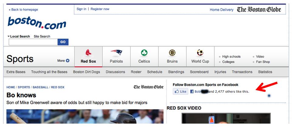 Boston Globe Sports landing page viewed by my friend, Bill.