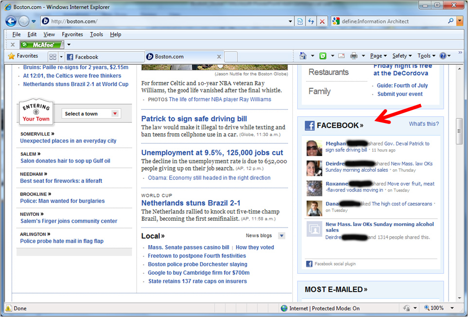 My friends' Facebook status messages displayed in a content module on the Boston Globe home page