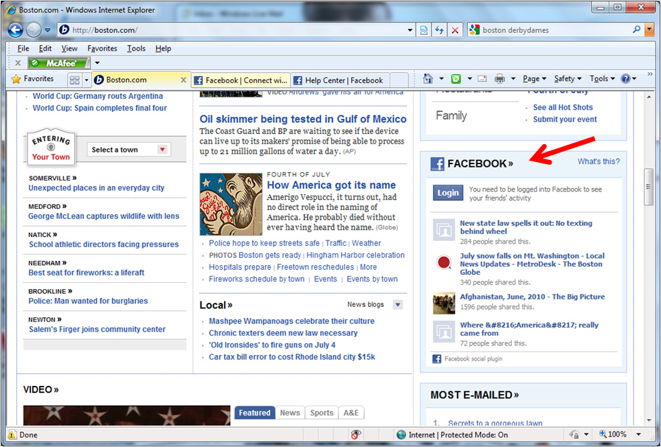 The default Facebook content module on the Boston Globe home page