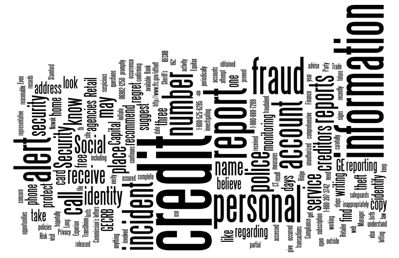 Word cloud for the GE Capital Retail bank breach notice