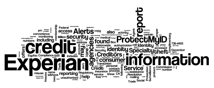 Word cloud for the Experian breach notice