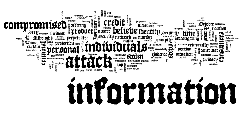 Word cloud of the Nationwide Insurance breach notice