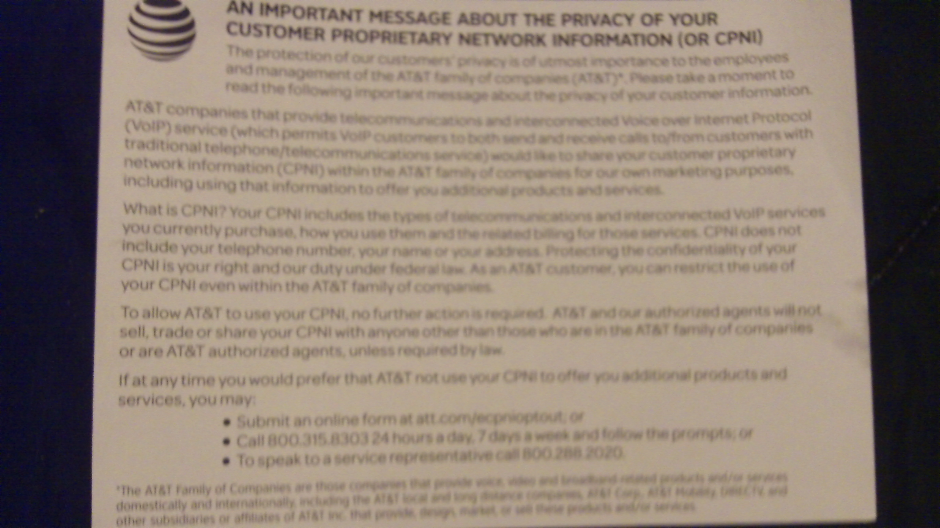 AT&T postcard notice in March 2016 about CPNI