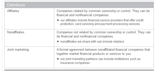 Company category definitions in the new Discover Privacy Policy