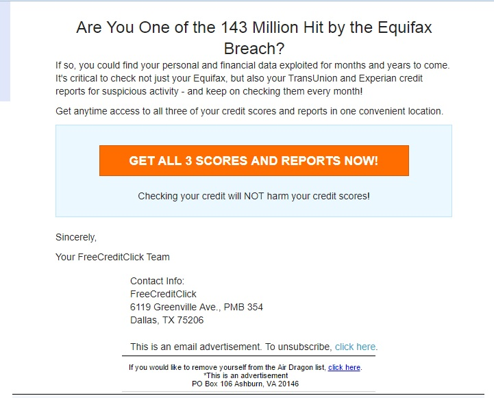 Suspected spam email. Click to view larger version