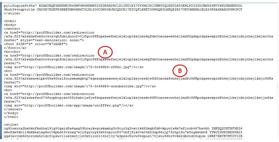 HTML markup of the suspected spam email. Click to view larger version
