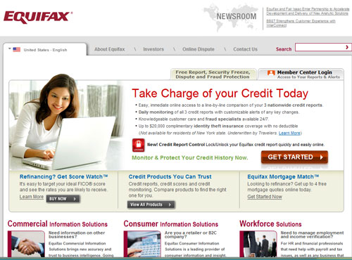 Equifax home page