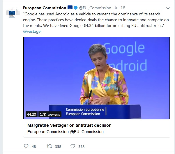 European Commission tweet. Vestager comments. Click to view larger version