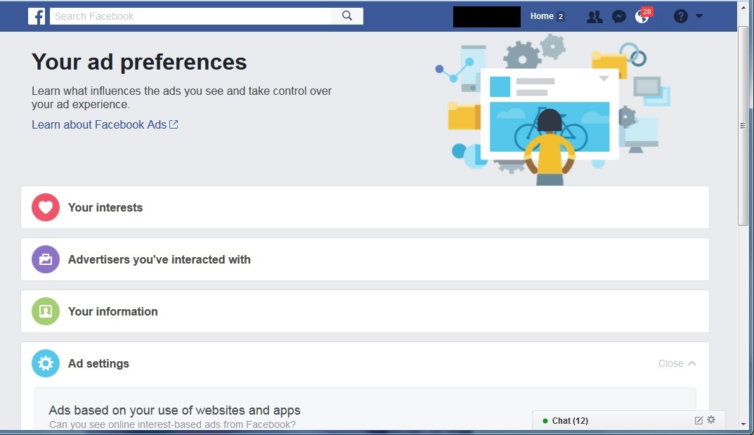 Default view of the Facebook Ad Preferences page. Click to view larger version