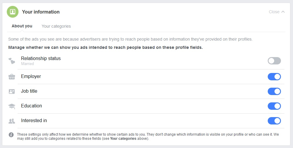 Your Information module within Facebook Ad Preferences. Click to view larger version