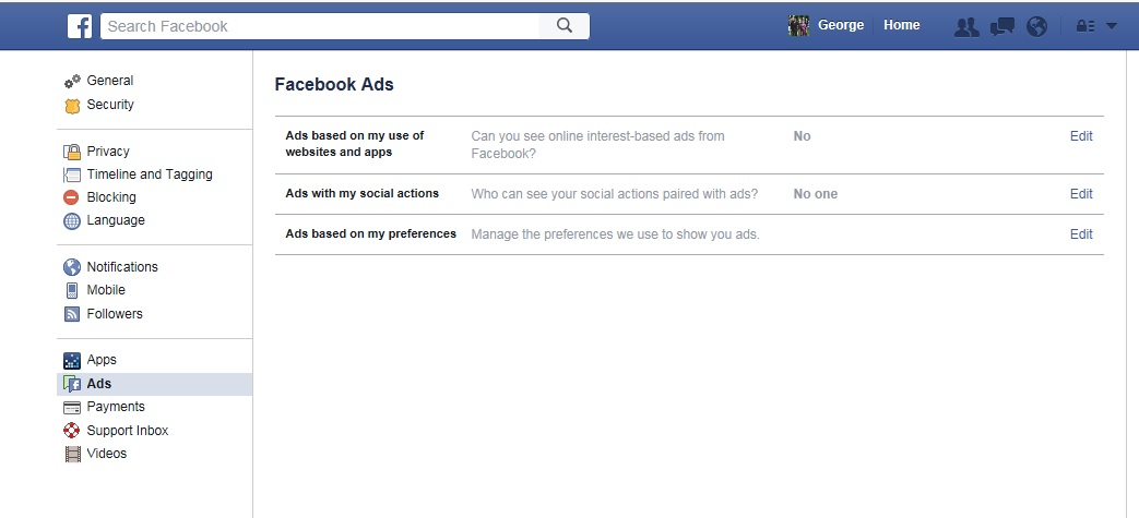 Image of Facebook Ad Settings page. Click to view larger image