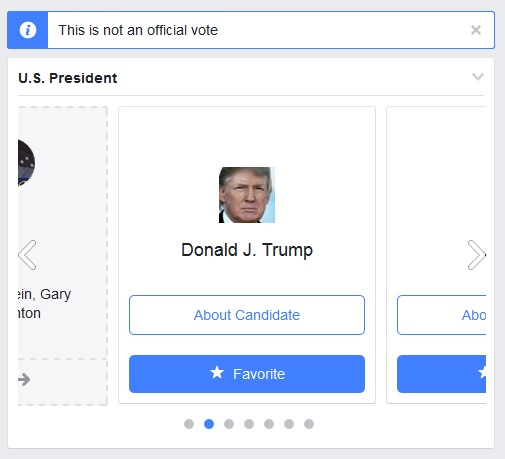 Facebook Elections Ballot. Links to learn about or favorite a candidate. Click to view larger version