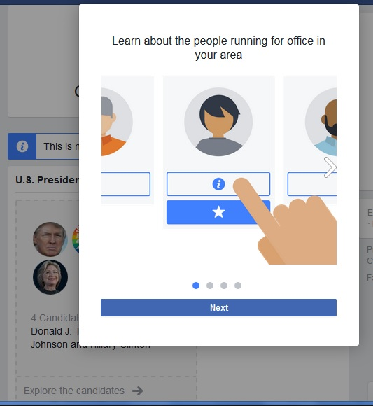 Facebook Elections Ballot popup window. Click to view larger version