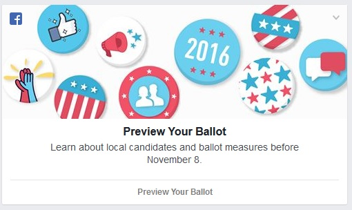 Facebook Elections Ballot ad. Click to view larger version