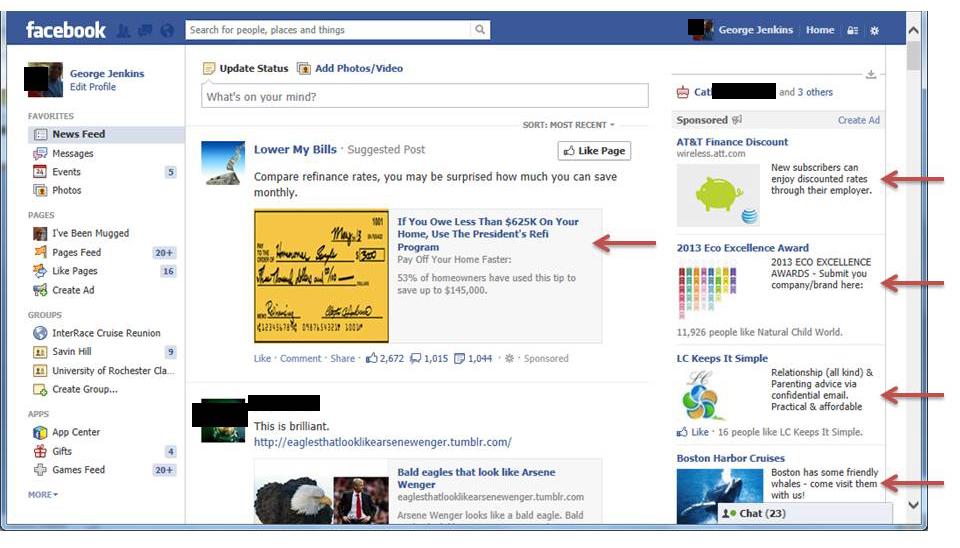 Facebook home screen ads