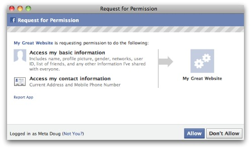 Facebook apps request for address and mobile phone number information