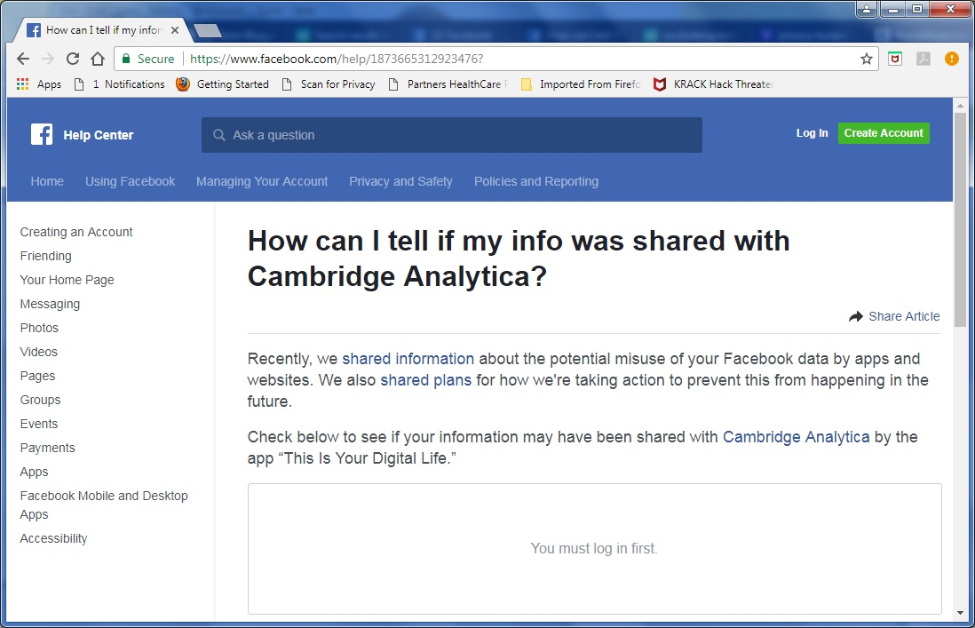 Default version of Facebook Help page for users to determine if their information was collected by Cambridge Analytica. Click to view larger version