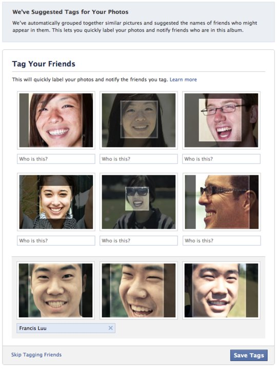 The Facebook Photo Tagging page presented during photo upload