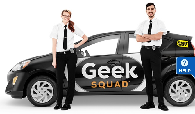 Image of Geek Squad auto and two technicians. Click to view larger version