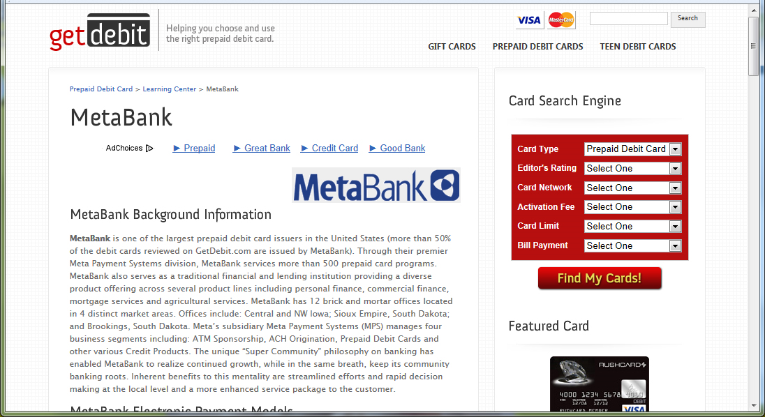 Summary of MetaBank at GetDebit.com