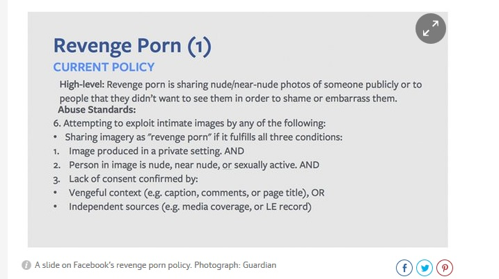 Revenge porn content rules found by The Guardian's review of Facebook documents