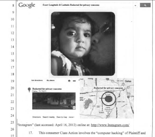 Photo with geolocation metadata from Gutierrez et. al. v Instagram complaint