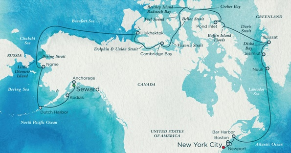 Map of Northwest Passage itinerary. Click to view larger image