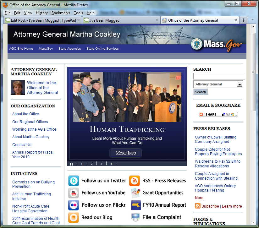 Massachusetts Attorney General Office website home page