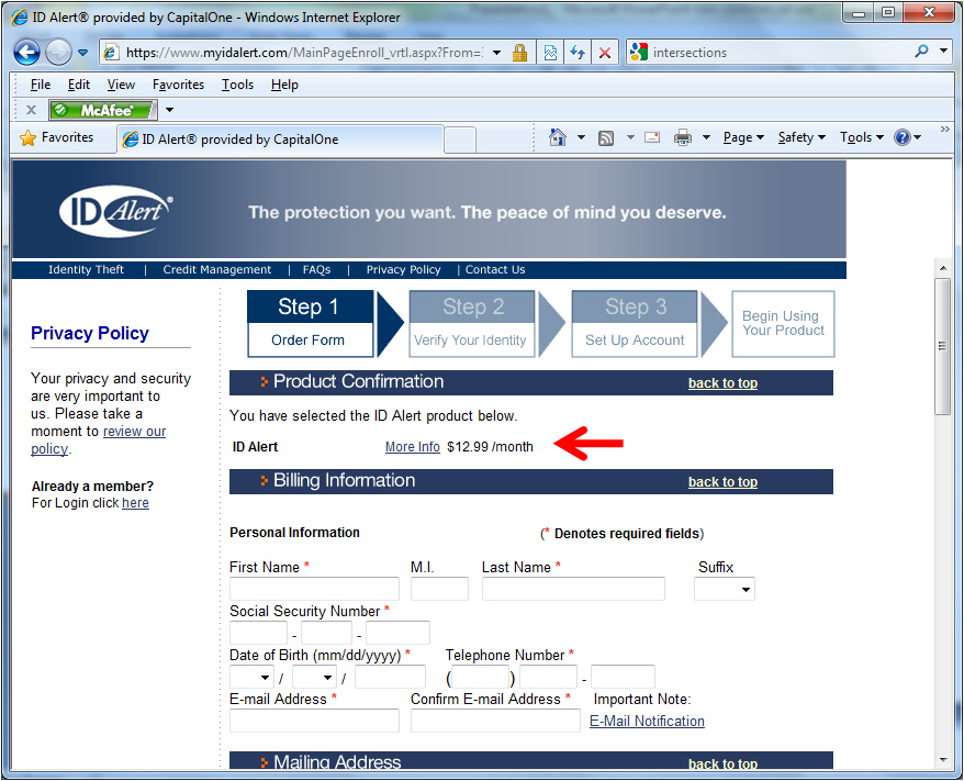 The My ID Alert order form page, step 1